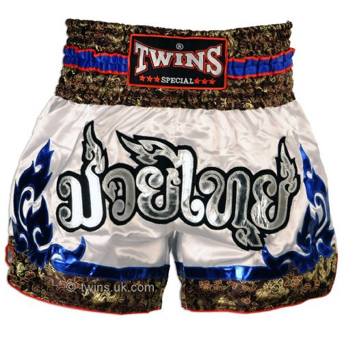 Twins TWS-871 White/Blue Muay Thai Shorts